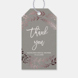 Elegant Rose Gold and Gray Bridal Shower Thank You Gift Tags