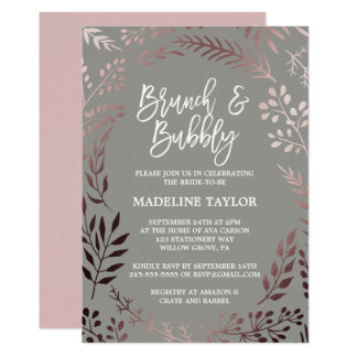 Elegant Rose Gold and Gray Brunch and Bubbly Card