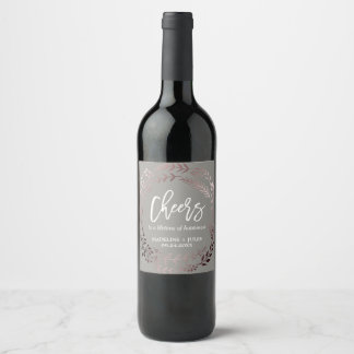 """Elegant Rose Gold and Gray """"Cheers"""" Wedding Wine Label"""