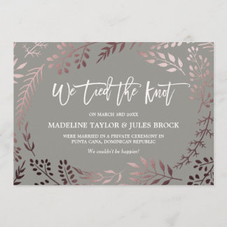Elegant Rose Gold and Gray Elopement Announcement