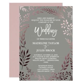 Elegant Rose Gold and Gray | Formal Wedding Invitation