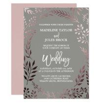 Elegant Rose Gold and Gray | Leafy Frame Wedding Card