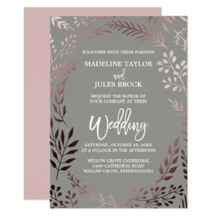 Pink And Gray Wedding Invitations & Announcements | Zazzle