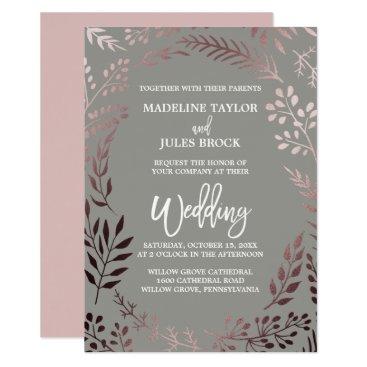 FreshAndYummy Elegant Rose Gold and Gray | Leafy Frame Wedding Card