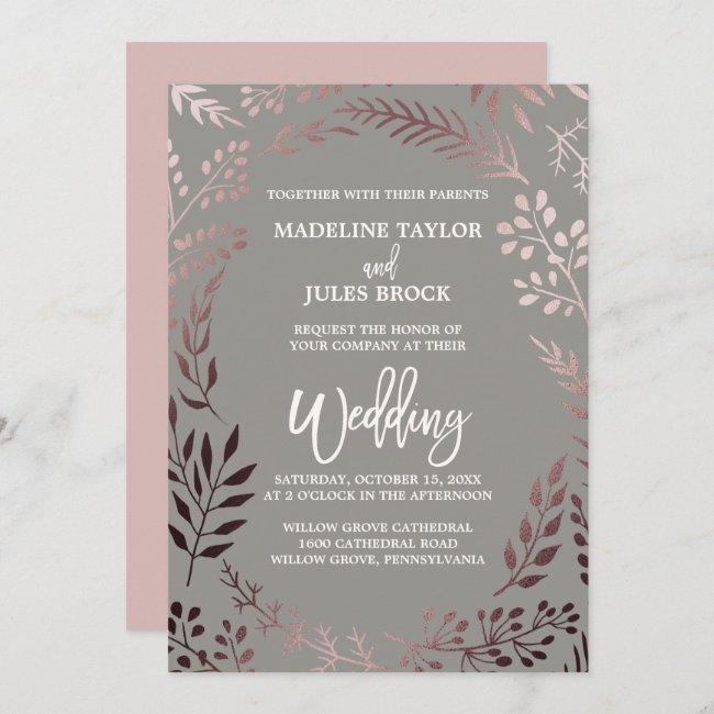 Elegant Rose Gold and Gray | Leafy Frame Wedding Invitation
