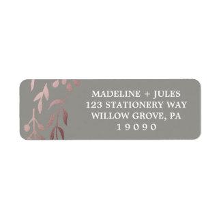 Elegant Rose Gold and Gray | Leafy Frame Wedding Label