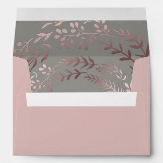 Elegant Rose Gold and Gray Lined Wedding Envelope