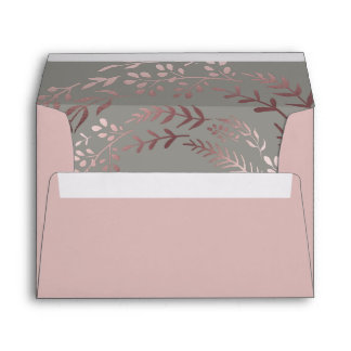 Elegant Rose Gold and Gray Lined Wedding Envelope