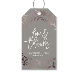 """Elegant Rose Gold and Gray """"Love & Thanks"""" Wedding Gift Tags"""