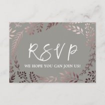 Elegant Rose Gold and Gray Menu Choice RSVP Card