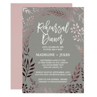 Elegant Rose Gold and Gray Rehearsal Dinner Invitation