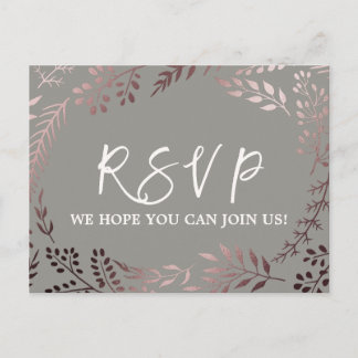 Elegant Rose Gold and Gray Song Request RSVP Invitation Postcard
