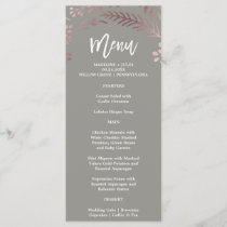 Elegant Rose Gold and Gray Wedding Menu Card
