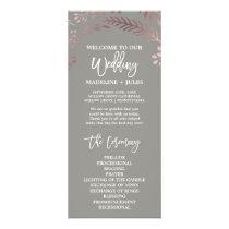 Elegant Rose Gold and Gray Wedding Program