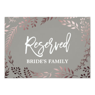 "Elegant Rose Gold and Gray Wedding ""Reserved"" Sign Card"