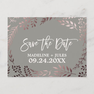 Elegant Rose Gold and Gray Wedding Save the Date Announcement Postcard
