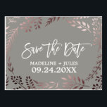 "Elegant Rose Gold and Gray Wedding Save the Date Postcard<br><div class=""desc"">This elegant rose gold and gray wedding save the date postcard is perfect for a classy wedding. The design features a stunning blush pink leafy frame on a dark grey background and is paired with a dazzling cursive font. Personalize the front of the announcement with the couples names and wedding...</div>"
