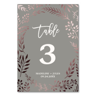 Elegant Rose Gold and Gray Wedding Table Number