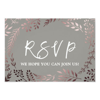 Elegant Rose Gold and Gray Wedding Website RSVP Card
