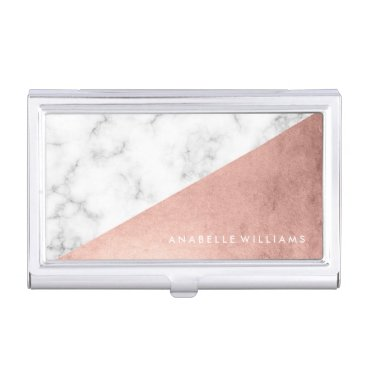 heartlocked Elegant Rose Gold and Marble Texture Business Card Holder