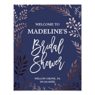 Elegant Rose Gold and Navy Bridal Shower Welcome Poster
