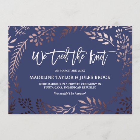 Elegant Rose Gold and Navy Elopement Announcement