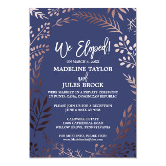 Elegant Rose Gold and Navy Elopement Reception Card
