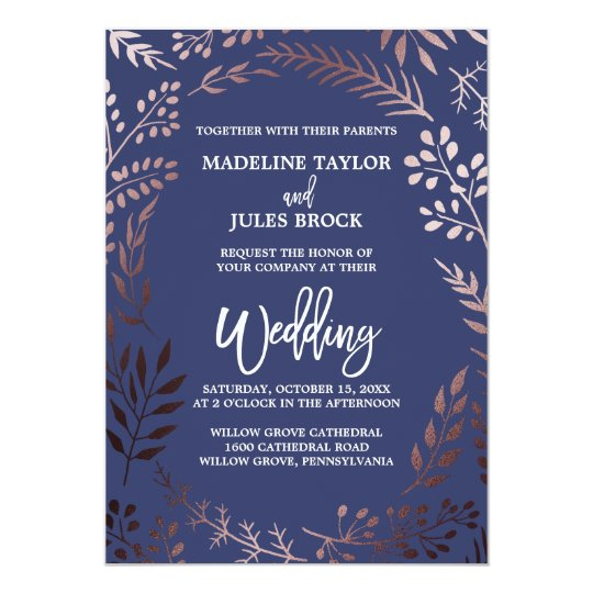 Elegant Rose Gold and Navy Leafy Frame Wedding Card Zazzlecom
