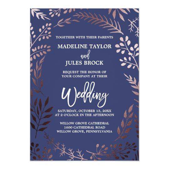 Elegant Rose Gold And Navy Leafy Frame Wedding Card