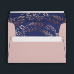 """Elegant Rose Gold and Navy Lined Wedding Envelope<br><div class=""""desc"""">These elegant rose gold and navy lined wedding invitation envelopes are perfect for a classy wedding. The design features a stunning blush pink leafy wreath on a dark blue background. Personalize the envelope flap with the return address of the bride and groom. Please Note: This design does not feature real...</div>"""