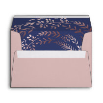 Elegant Rose Gold and Navy Lined Wedding Envelope