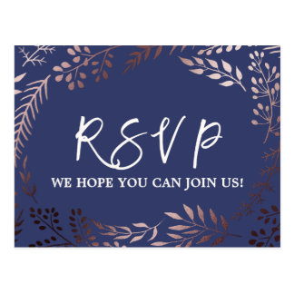 Elegant Rose Gold and Navy Menu Choice RSVP Postcard