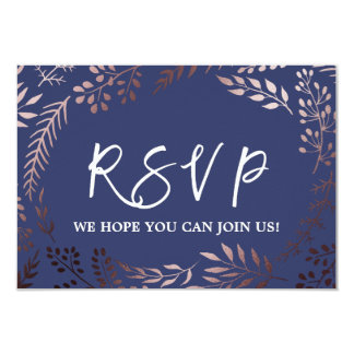 Elegant Rose Gold and Navy Song Request RSVP Card