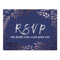 Elegant Rose Gold and Navy Song Request RSVP Postcard