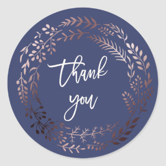 Elegant Rose Gold and Navy Thank You Wedding Favor Classic Round Sticker