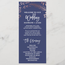 Elegant Rose Gold and Navy Wedding Program