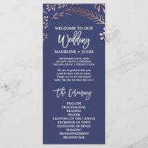 Elegant Rose Gold and Navy Wedding Program
