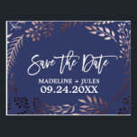 "Elegant Rose Gold and Navy Wedding Save the Date Postcard<br><div class=""desc"">This elegant rose gold and navy wedding save the date postcard is perfect for a classy wedding. The design features a stunning blush pink leafy frame on a dark blue background and is paired with a dazzling cursive font. Personalize the front of the announcement with the couples names and wedding...</div>"