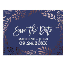 Elegant Rose Gold And Navy Wedding Save The Date Postcard at Zazzle