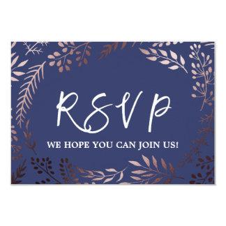 Elegant Rose Gold and Navy Wedding Website RSVP Card