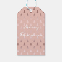 Elegant rose gold and pink Christmas tree pattern Gift Tags
