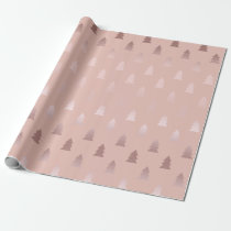 Elegant rose gold and pink Christmas tree pattern Wrapping Paper
