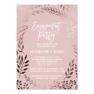 Elegant Rose Gold and Pink Engagement Party Invitation