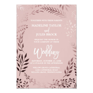 Elegant Rose Gold and Pink   Leafy Frame Wedding Card