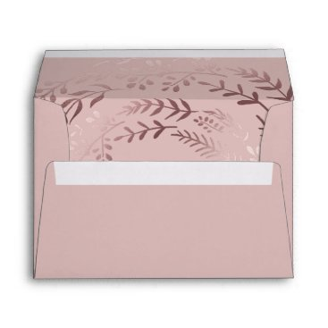 Beach Themed Elegant Rose Gold and Pink Lined Wedding Envelope