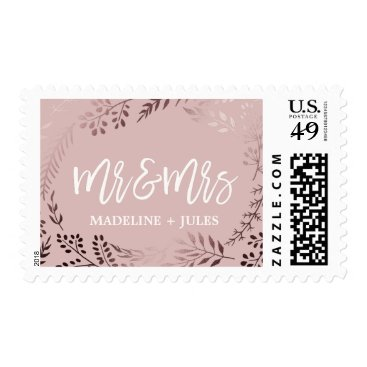 """Beach Themed Elegant Rose Gold and Pink """"Mr and Mrs"""" Wedding Postage"""