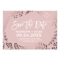 Elegant Rose Gold and Pink Wedding Save the Date Invitation