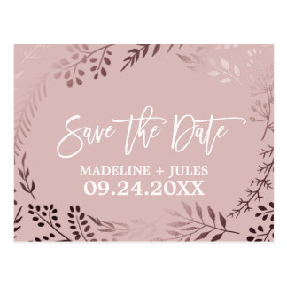Elegant Rose Gold and Pink Wedding Save the Date Postcard