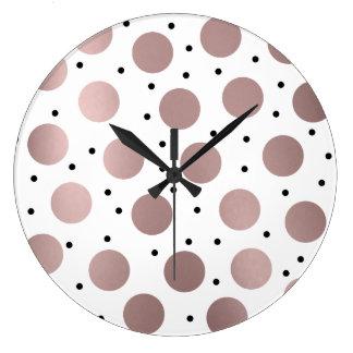 elegant rose gold black polka dots large clock