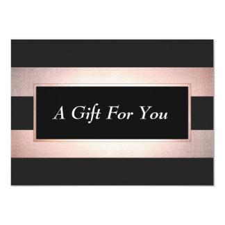 Elegant Rose Gold Black Salon Gift Certificate Card